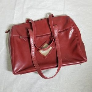 Buxton Red Leather Laptop Bag